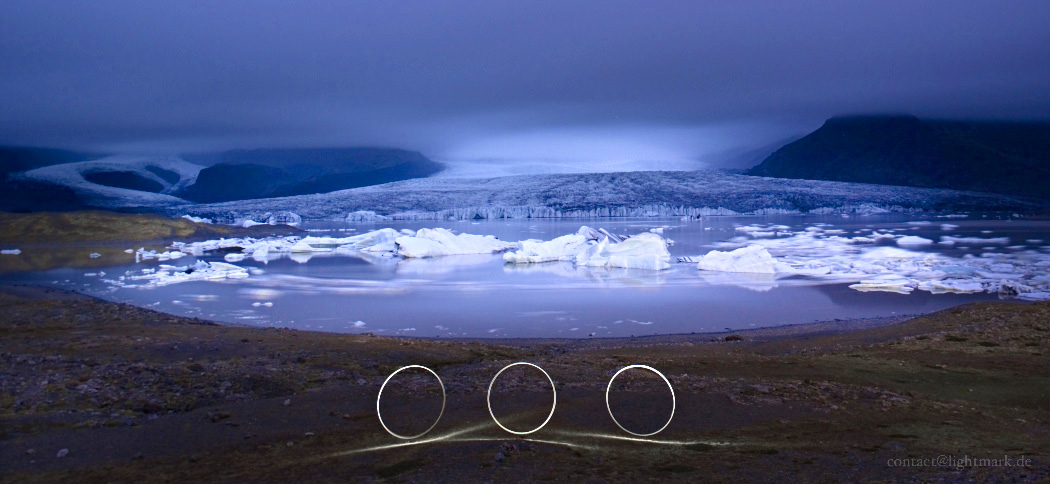 Lightmark No.108, Skaftafell National Park, Fjallsárlón, Iceland, Light Painting, Night Photography.