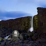 Lightmark No.110, Öxarárfoss, Þingvellir National Park, Iceland, Light Painting, Night Photography.
