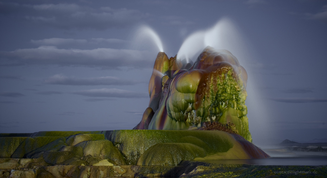 Lightmark No.116, Fly Geyser, Black Rock Deserts, Nevada, USA, Light Painting, Night Photography.