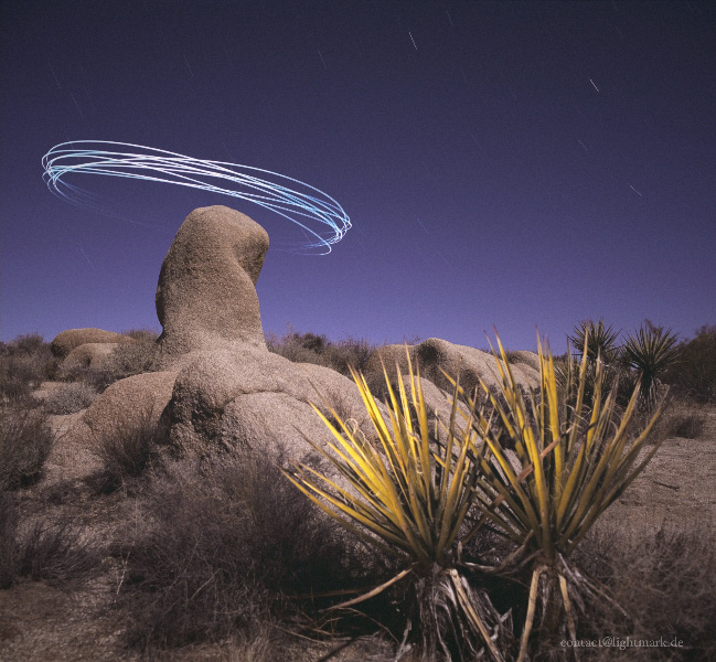 Lightmark No.43, Jumbo Rock, Joshua Tree National Park, California, Light Painting, Night Photography.